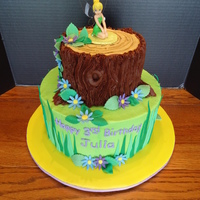 Julia's Tinkerbell Cake Bottom tier is WASC with butter cream. Top tier is chocolate WASC with Hershey's Choc. Frosting for the bark. Fondant accents. Plastic...