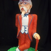 "3D Ole Miss Colonel Reb  Colonel Reb stands 40"" tall; internal PVC structure (based on class taken from Bronwen Weber). Made head from styrofoam. Cake traveled..."
