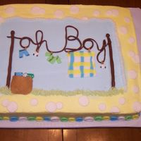 Oh Boy Clothesline Cake Buttercream with fondant accents. Button Bottom border. This was a fun cake to make! TFL!
