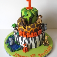Jungle 1St Birthday Cake Cake by Sugar Fairy Tales. www.sugarfairytales.blogspot.com. Thanks to ALL the inspiration from CC, this is my version of the Jungle cake...
