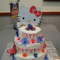 Hello Kitty Cake I made this cake for my nieces birthday. Butter cream icing, fondant accents.
