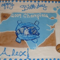 Tarheel Basketball Cake butter cream icing, fondant accents