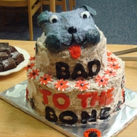 Bad To The Bone Cake RKT bulldog head and fondant accents