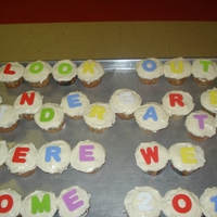 Pre K Graduation Cupcakes I made these cupcakes for my sons Pre K graduation. Butter cream icing with fondant letters.