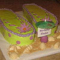 Flip Flops Yellow cake and almond buttercream icing. Gumpaste flowers, fondant straps. Chocolate mint shells. TFL!