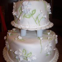 Flower Two Tier Wedding Cake Flower two tier wedding cake