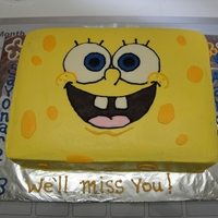 Spongebob Cake   Made this for a little boy's going away party. Chocolate cake w/ BC.