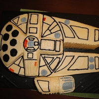 Millennium Falcon Cake   Friend wanted Star Wars cake with BC. Not as clean looking as I would have liked, but the little boy loved it.