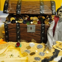 Treasure Chest Cake   Chocolate MMF, Star fish and map are gum paste. TFL!