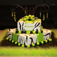 "Neon Zebra Bottom is 12"" chocolate & top is 8"" yellow cake with BC fondant accents and icing sheet zebra stripes. Borders are gumballs (..."