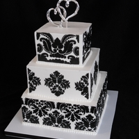 "Damask Cake   Yes, yet another damask cake! This was one of my ""show"" cakes for the bridal fair. Brides still love the damask look!"