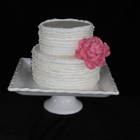 Ruffled Peony Cake   Ruffled fondant with pink peony - sample cake for a bridal fair.