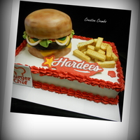 Cheeseburger And Fries A jumbo cheeseburger and fries cake for a couple who sold their Hardee's restaurants that they owned for 23 years -- All cake with...