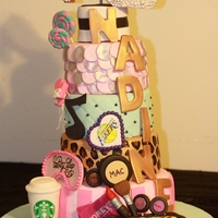 21St Birthday Cake All of my sister's favorite things: Louboutin shoes, Forever21, Starbucks, Boxing, MAC makeup, cheetah, Victoria's Secret,...