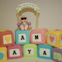 "Amaya   6"" square cake made into these nine blocks."