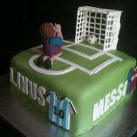 Messi Football Cake Birthday cake for my nephew who turns 6 and is a huge Messi fan