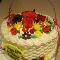 Flower Basket Eggless chocolate cake with vanilla b/cream and fondant flowers.