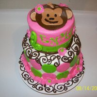 Mod Monkey First Birthday This was for my bff's baby girls bday , It was 3 layers of 9in and 3 layers of 6in , buttercream iced then decored with mmf accnts and...