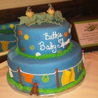 Two Peas In A Pod Baby Shower For Twins Bottom layer Chocolate cake with cream puff filling. Top layer Vanilla with strawberry filling.