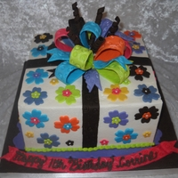 Birthday Cake   8x8 buttercream with fondant accents. Fun cake to make.