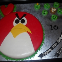 "Angry Birds!   12"" fondant covered cake. Fondant pigs. Fun cake to do. Tnx to KathieV for inspiration/design"