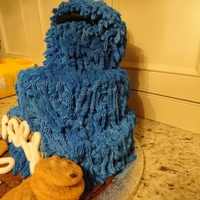 "C Is For Cookie Monster Birthday Cake 17"" Tall French Vanilla cake with French Vanilla buttercream. Covered in buttercream This is all cake, all edible. Cookie monster is..."