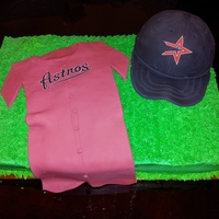 Astros Baseball Cake I made this for a friend's son's wedding. It was a chocolate fudge cake with chocolate ganache filling, buttercream icing and...