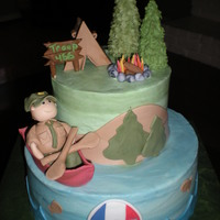 Eagle Scout This cake was made to celebrate receiving the Eagle Scout badge. Buttercream icing with fondant accents