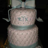 Quilted Pink And Silver This cake was actually for a baby dedication but it would make a beautiful wedding cake too. Covered in fondant with quilted pattern and...