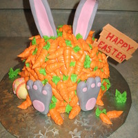 Easter Bunny & Carrots Cake Got the idea from another CC'er. Ears, egg, sign, and feet fondant. BC carrots.