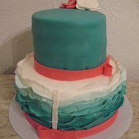 Bridal Shower Ombre Ruffle Cake The bride's colors were begonia and torquoise. (It appears to be more blue in this photo but it's not.)