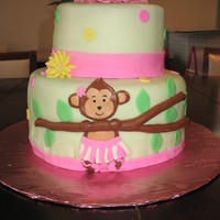 Monkey Tutu Baby Shower Cake Covered with buttercream with MMF and Chocolate fondant decorations.