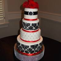 "My Daughters Wedding Cake On June 15 2013 14108 And 6 Tiers The Cakes Were Made From Scratch With Two Tiers Being Red Velvet Ca * My daughter's wedding cake on June 15, 2013. 14"",10"",8"" and 6"" tiers The cakes were made from scratch with two..."