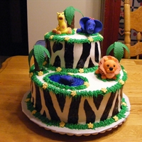 Jungle Theme Baby Shower Buttercream Icing with fondont animals