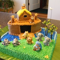 Noah's Ark Marble cake with buttercream icing. Figures made of fondant.