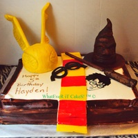 Harry Potter   snitch and sorting hat are RKT covered in fondant . freehand painted harry potter TFL!!