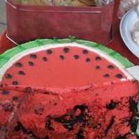 Waltermelon Cake cake i forgot to take a picture before it was cut but this was made to look like a watermelon for a summer picnic . i dyed the batter pink...