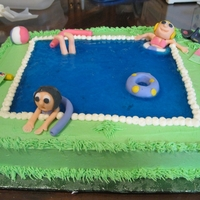 Swimming Party Cake This cake is for a girlscout swim party where the girls learned water safety. it was a big hit to the 9 year old girls. white cake ,bc...