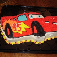 Cars Lightning Mcqueen Cars shaped pan iced with buttercream