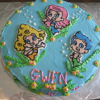 Bubble Guppies Chocolate cake with FBCT of Bubble Guppie characters. all buttercream icing.