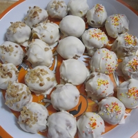 Carrot Cake Balls first time making cake balls. only because my carrot cake fell and i didnt want it wasted. this was fun and easy and delicious!