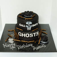 Call Of Duty Ghosts Cake All edible items except for dog tag chain.