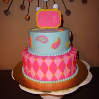 6 And 8 Inch Buttercream Cake With Fondant Accents 6 and 8 inch buttercream cake with fondant accents