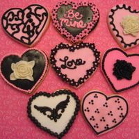 Black And Pink Valentine Cookies   Sugar cookies with RI and candy clay accents.