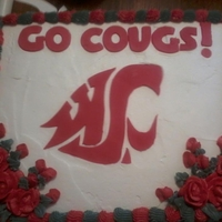 Wsu Cougar Cake   Frosted in butter cream with a fondant cut out of the WSU logo and BC roses