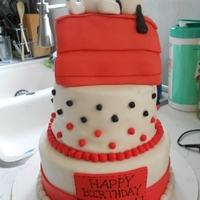 Snoopy Cake Covered in Fondant with Fondant decorations and Figures, Dog house carved from cake.
