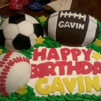 Sports Balls Cake Frosted in BC with Carved Balls from Cake covered in Fondant with fondant decorations