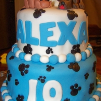 Puppy Paws Birthday Cake   Covered in Fondant with Fondant decorations and Fondant Puppy figures.