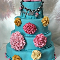 Tiffany Blue.. Tiffany blue b-day cake with a replica of the birthday girl's Tiffany charm bracelet.