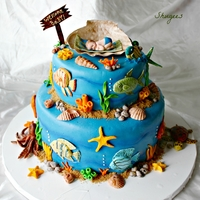 """under The Sea"" Baby Shower Very fun cake to make. All sugar dough : )"